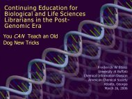 Continuing Education for Biological and Life Sciences ... - CINF