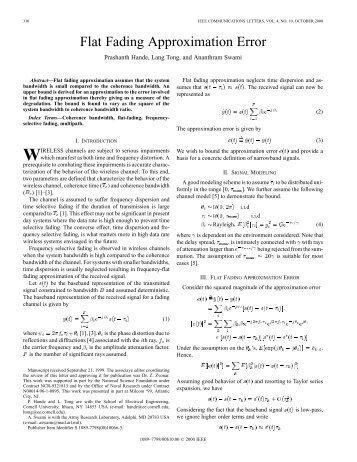 Flat fading approximation error - IEEE ... - IEEE Xplore