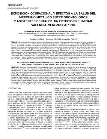 exposicion ocupacional y efectos a la salud del mercurio ... - BVSDE