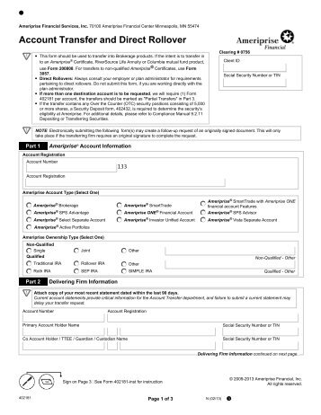 WIRE TRANSFER REQUEST FORM - Ameriprise Financial