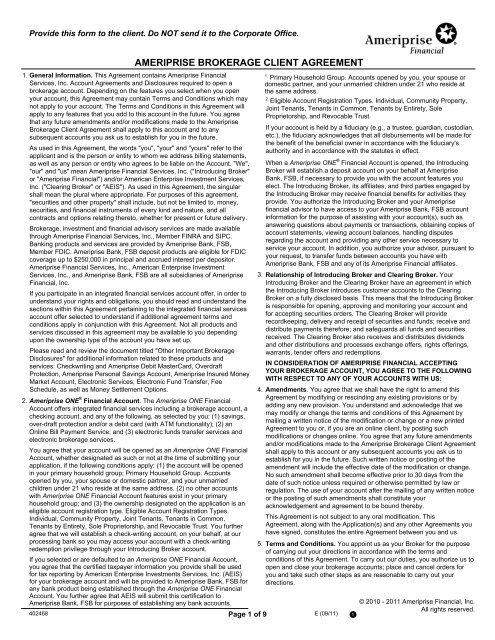 AMERIPRISE BROKERAGE CLIENT AGREEMENT - Public Citizen
