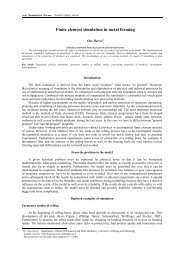 Finite element simulation in metal forming - Acta Montanistica Slovaca