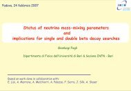 Status of neutrino mass-mixing parameters and implications for ... - Infn
