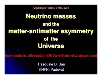 Neutrino masses and the matter-antimatter asymmetry - Infn