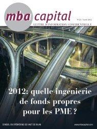 n°23 / Avril 2012 >> LIRE LE NUMERO - MBA Capital