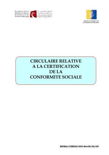 circulaire relative a la certification de la conformite sociale