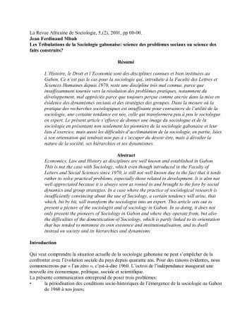 Les Tribulations de la Sociologie gabonaise : - codesria