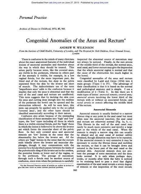 imperforate anus treatment enlarge anus