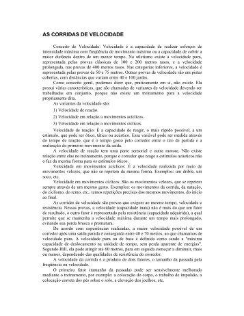 AS CORRIDAS DE VELOCIDADE - ADECT