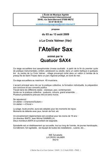 Brochure d'information - Association des SAXophonistes