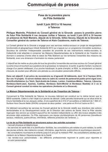 Pose De La 1ère Pierre Du Pôle Solidarité à Talence