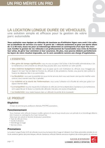 La Location Longue Durée De véhicuLes, - Caisse d'Epargne