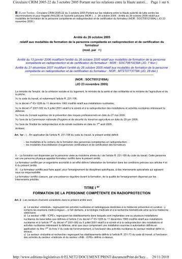 Page 1 sur 6 Circulaire CRIM 2005-22 du 3 octobre 2005 Portant ...