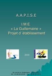 La Guillemaine - Projet d'établissement - ime la guillemaine institut ...