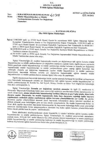 Untitled - Adana Milli Eğitim Müdürlüğü