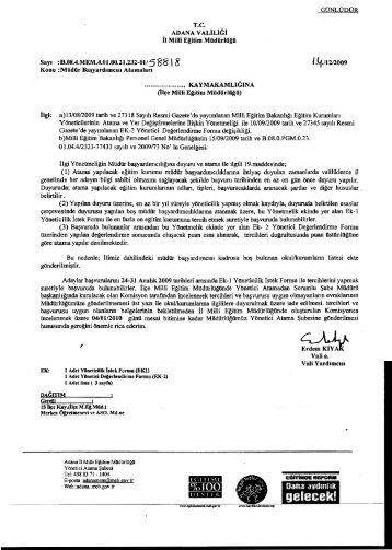 GÜNLÜDÜR rc. - Adana Milli Eğitim Müdürlüğü - Milli Eğitim Bakanlığı
