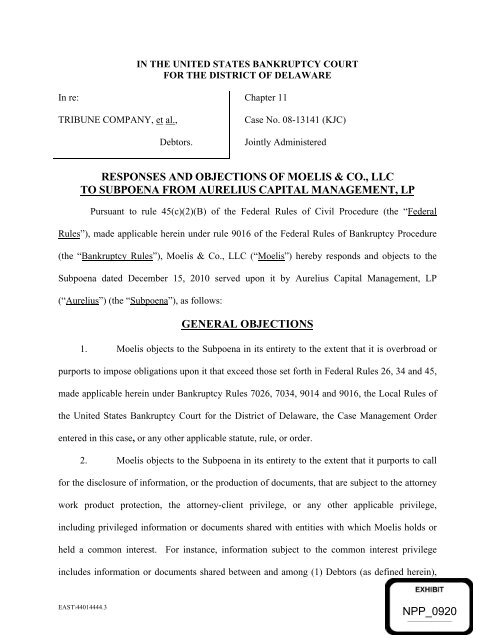responses and objections of moelis & co , llc to subpoena