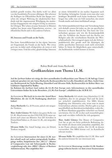 Großkanzleien zum Thema LL.M. - Ad Legendum