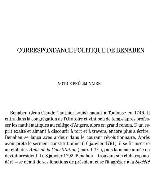 Correspondance Politiqur Privée Et Journal De Benaben Jean