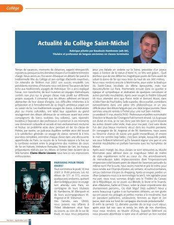 Actualité du Collège Saint-Michel - s élèves des Jésuites