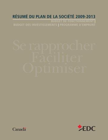 Résumé du plan de la société 2009-2013 - EDC