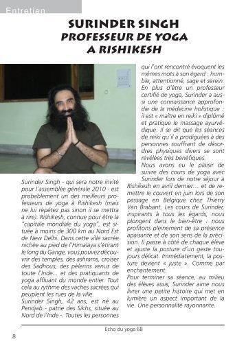 Surinder Singh, professeur de yoga à Rishikesh - Abepy