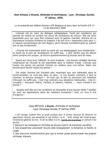 Jean Artaud, L'écoute, Attitudes et techniques, Lyon - IF Belgique