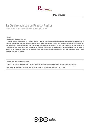 Le De daemonibus du Pseudo-Psellos - Bibliotheca Pretiosa