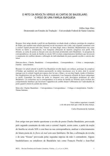 o mito da revolta versus as cartas de baudelaire - UFES ...