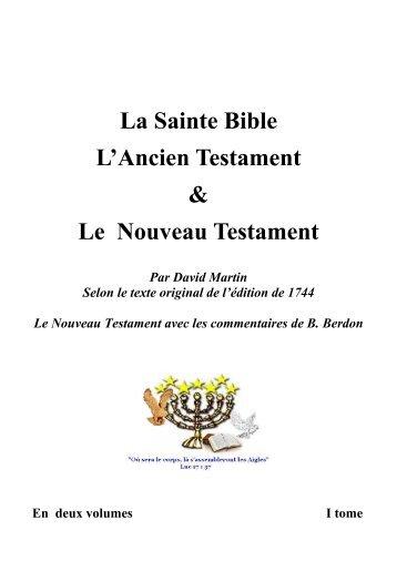 le premier livre de moise dit la genese - Nouvelle Naissance