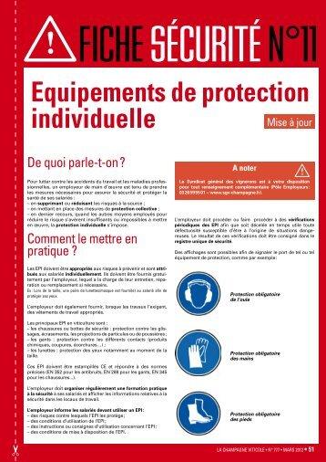Equipements de protection individuelle - La Champagne Viticole
