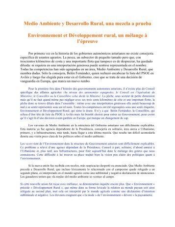 Environnement et Développement rural, un mélange à l'épreuve