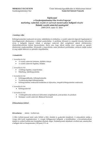 GTK marketing, számvitel, vezetés és szervezés MSC levelező