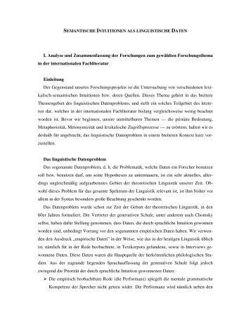 I. Analyse und Zusammenfassung der Forschungen zum gewählten ...