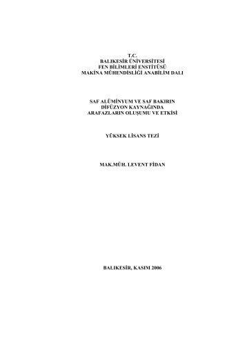tc balıkesir üniversitesi fen bilimleri enstitüsü makina mühendisliği ...