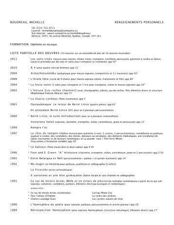 boudreau, michelle renseignements personnels - Canadian Music ...