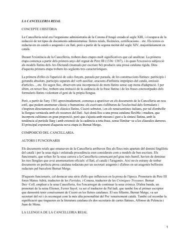 LA CANCELLERIA REIAL CONCEPTE I HISTÒRIA La Cancelleria ...