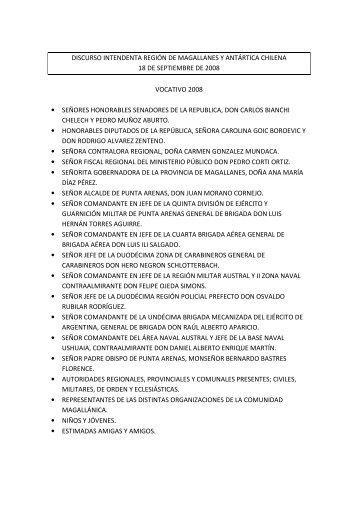 discurso intendenta región de magallanes y antártica chilena 18 de ...