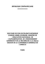 REPUBLIQUE CENTRAFRICAINE - Unesco