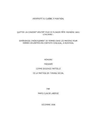 expériences d'hébergement de femmes dans - Archipel - UQAM