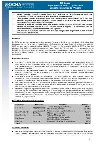 RD Congo Rapport de Situation 21 juillet 2008 Congolais expulsés ...