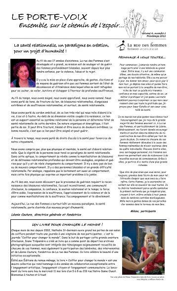 Le Porte-Voix - Printemps 2011 - Vol. 4 numéro 1 - La rue des ...