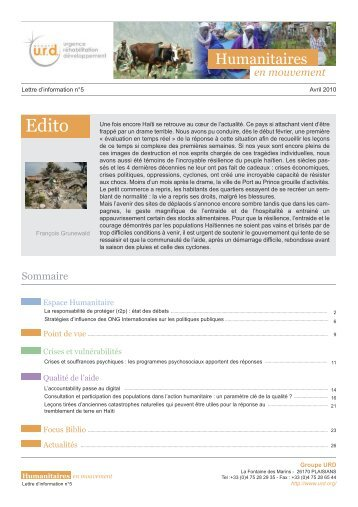 Humanitaires en mouvement n°5 - Groupe URD