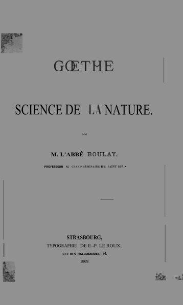 Goethe et science