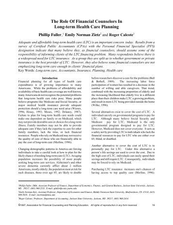 The Role of Financial Counselors in Long-term Health Care - AFCPE