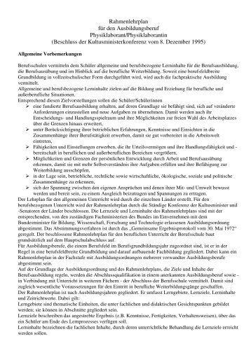 Rahmenlehrplan für den Ausbildungsberuf Physiklaborant ...