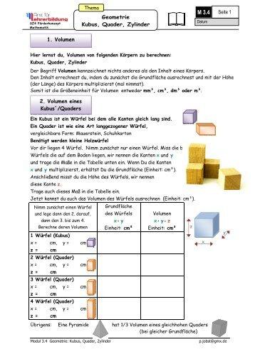 Seite Geometrie Kubus Quader Zylinder Volumen Volumen.