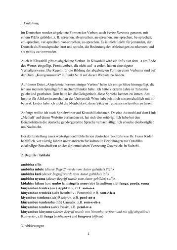 1.Einleitung Im Deutschen werden abgeleitete Formen der Verben ...