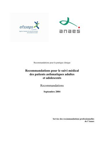 recommandations Asthme