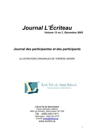 Volume 13, numéro 1 - L'Écritôt de Saint-Hubert